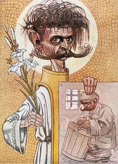Karikatura Ivana Cankarja kot zapornik in mučenik